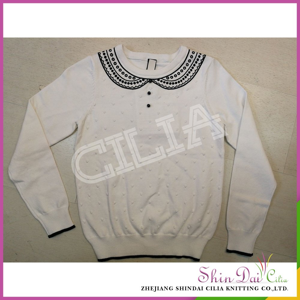 785cd5f69cc4 Custom design white hand knit embroidery pullover sweater designs for girls