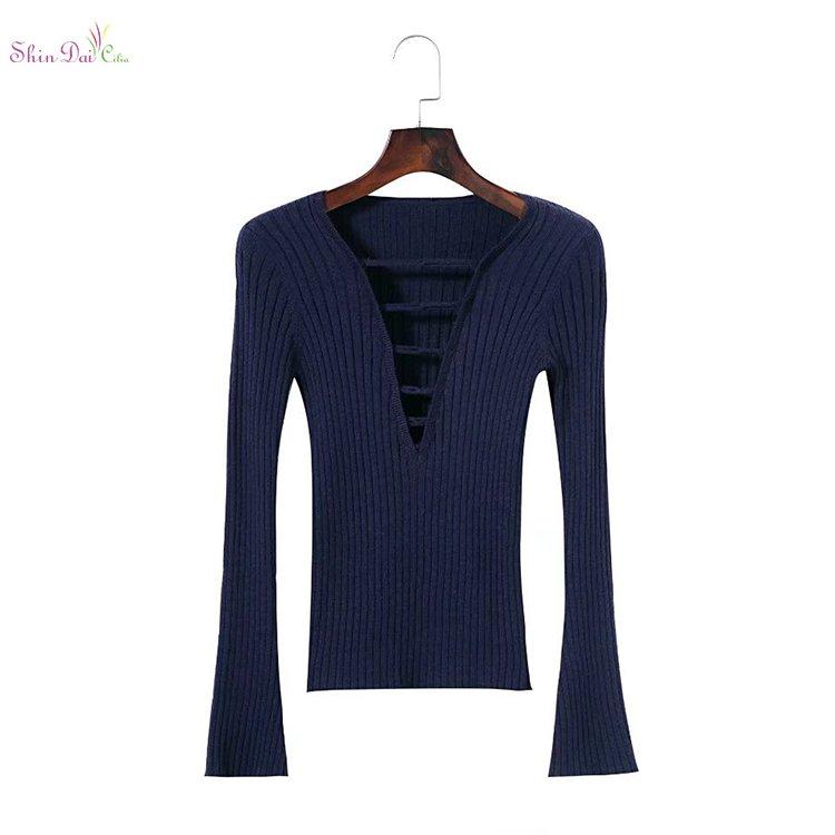 2822b493b059f Fashion cheap custom womens fashion v neck lace up skinny spring ...